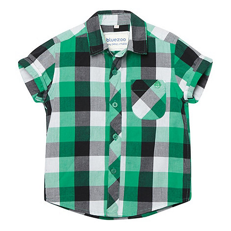 bluezoo - Boy+s green checked short sleeve shirt