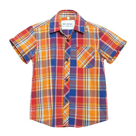 bluezoo - Boy+s orange checked shirt