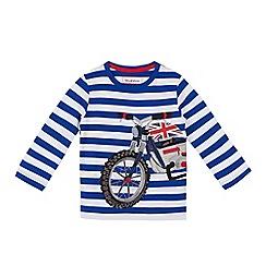 bluezoo - Boys' blue motorbike applique top