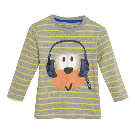 bluezoo - Boy+s green monkey striped top