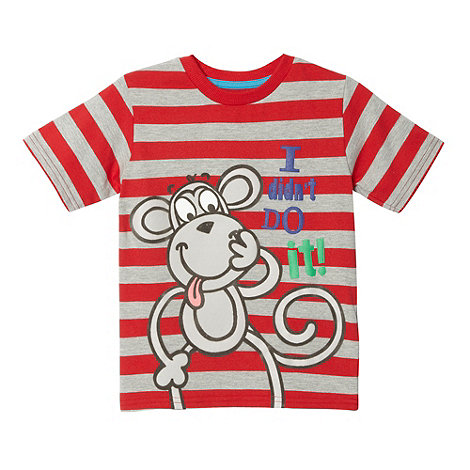 bluezoo - Boy+s red striped monkey t-shirt