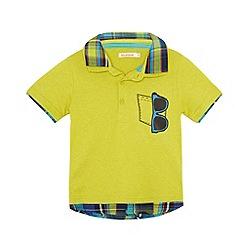 bluezoo - Boy's lime sunglasses print mock collar polo shirt