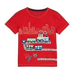 bluezoo - Boys' red dinosaur train applique t-shirt