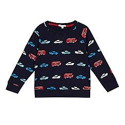 bluezoo - Boys' navy vehicle print sweater