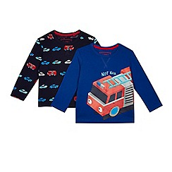 bluezoo - Pack of two boys' blue and navy fire engine print tops
