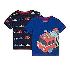 bluezoo - Pack of two boys' blue and navy fire engine print t-shirts