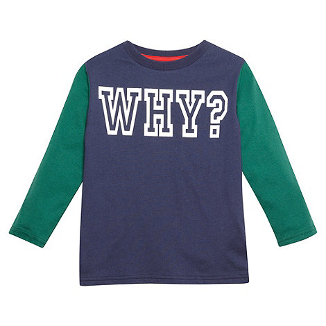 bluezoo - Boy+s navy +Why?+ slogan top