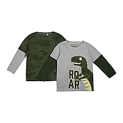 bluezoo - Pack of two boys' grey and green camouflage t-shirts