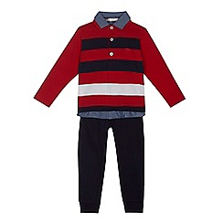 J by Jasper Conran - Boys' navy striped rugby shirt and jogging bottoms set
