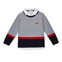 J by Jasper Conran - Boys' grey colour block mock jumper