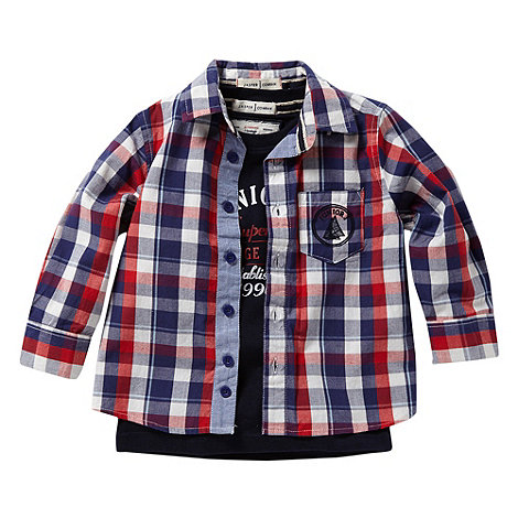 J by Jasper Conran - Designer boy+s red checked shirt and t-shirt set
