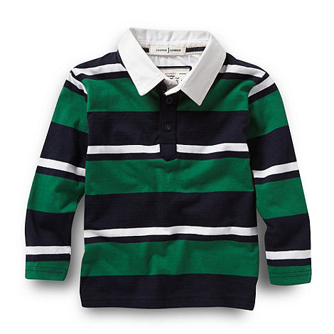 J by Jasper Conran - Designer boy+s green multi striped rugby shirt