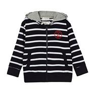 Designer boy's navy striped hoodie