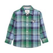 Designer boy's green checked shirt