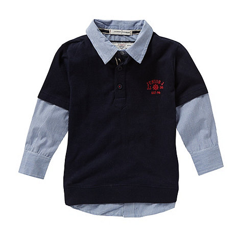 J by Jasper Conran - Designer boy+s navy mock shirt insert polo top