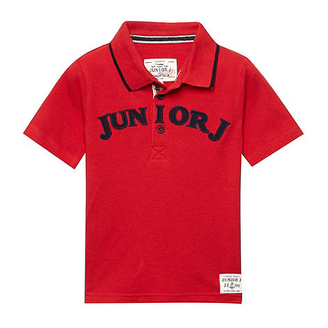 J by Jasper Conran - Designer boy+s red logo pique polo shirt