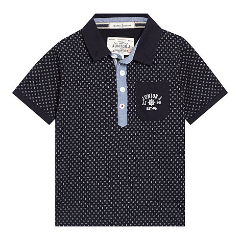 J by Jasper Conran - Designer boy+s navy circle printed polo shirt