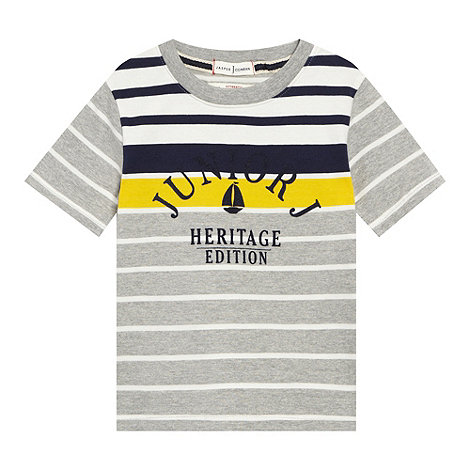 J by Jasper Conran - Designer boy+s grey striped logo print t-shirt
