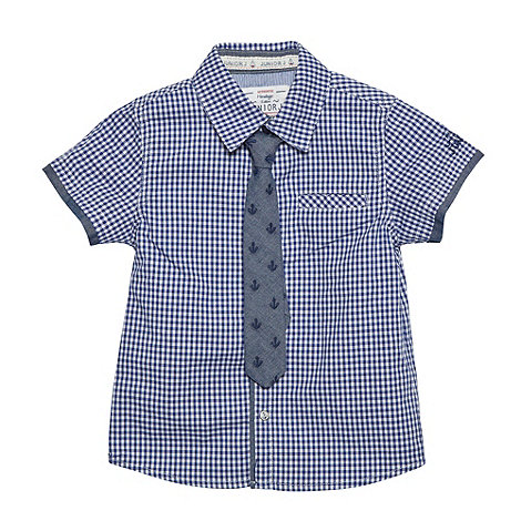 J by Jasper Conran - Designer boy+s navy gingham shirt and tie set