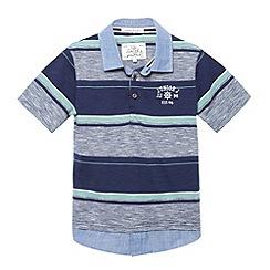 J by Jasper Conran - Designer boy's navy striped mock collar polo shirt