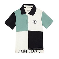 J by Jasper Conran - Designer boy's aqua harlequin polo shirt