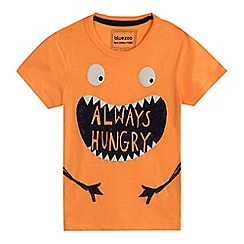 bluezoo - Boys' orange 'Always Hungry' monster print t-shirt