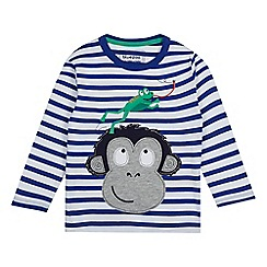 bluezoo - Boys' blue monkey applique top