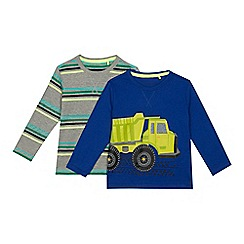 bluezoo - Pack of two boys' multi-coloured digger print and striped tops
