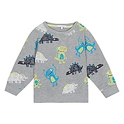 bluezoo - Boys' grey dinosaur print sweater