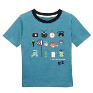 Designer boy's blue fine striped bug icon print t-shirt