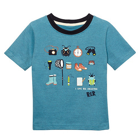 RJR.John Rocha - Designer boy+s blue fine striped bug icon print t-shirt