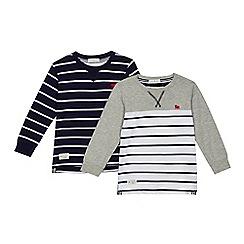 J by Jasper Conran - Pack of two boys' white and navy striped long sleeved tops