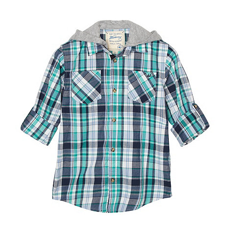 Mantaray - Boy+s green hooded checked shirt