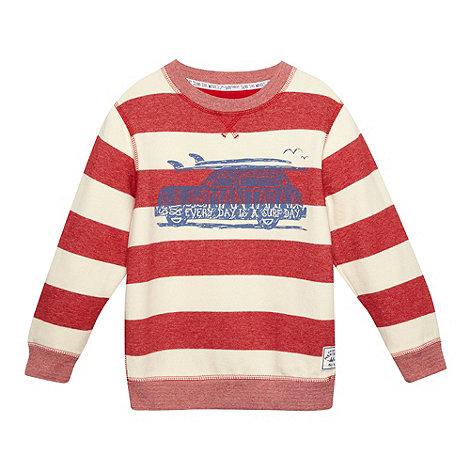 Mantaray - Boy+s red striped +Surf Day+ printed sweat shirt