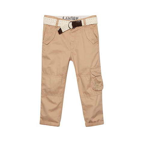 Mantaray - Boy+s beige belted utility trousers