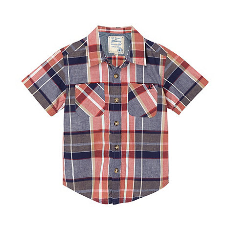 Mantaray - Boy+s red checked chambray shirt