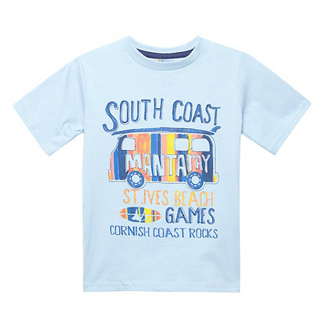 Mantaray - Boy+s light blue +South Coast+ print t-shirt