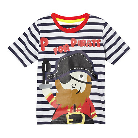 bluezoo - Boy+s navy striped +P for Pirate+ t-shirt