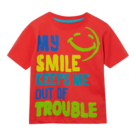 bluezoo - Boy+s red smile slogan t-shirt