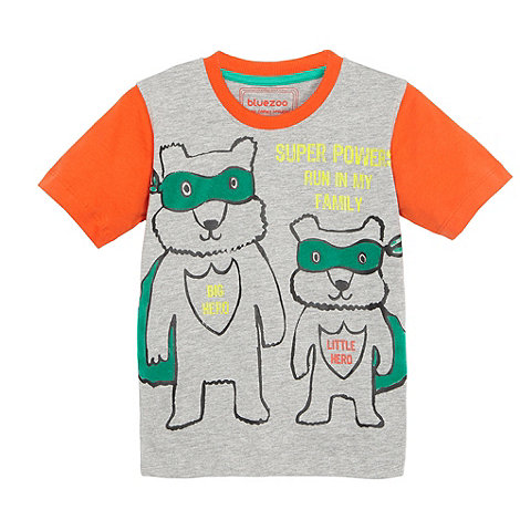 bluezoo - Boy+s grey super hero t-shirt