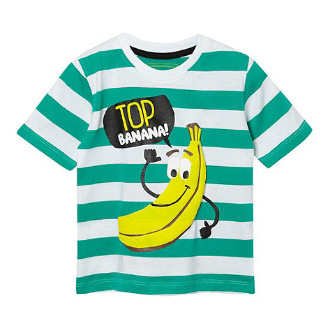 bluezoo - Boy+s green striped +Top Banana+ t-shirt