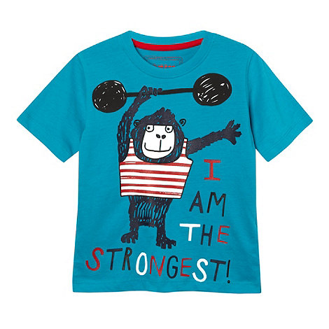 bluezoo - Boy+s turquoise strong monkey print t-shirt