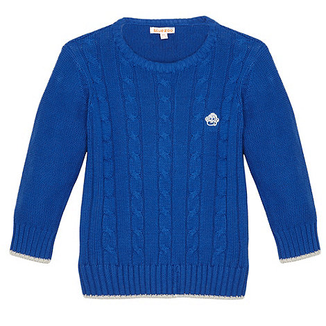 bluezoo - Boy+s blue cable knit jumper