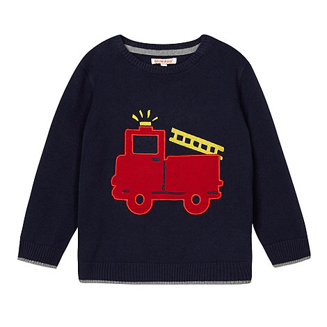 bluezoo - Boy+s navy applique fire engine jumper