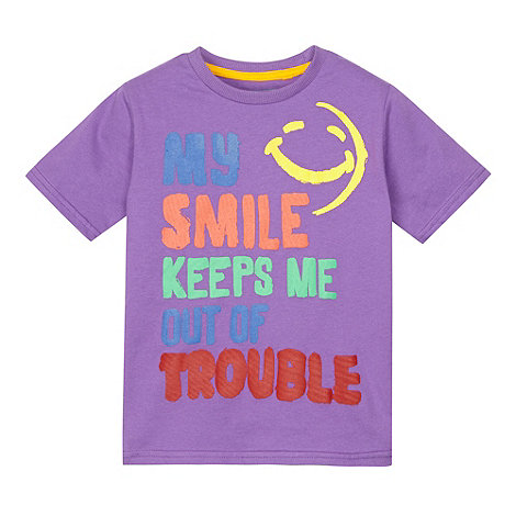 bluezoo - Boy+s purple smile slogan t-shirt