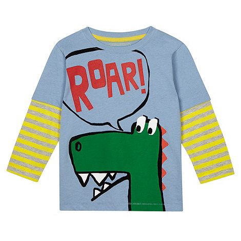 bluezoo - Boy+s blue dinosaur printed t-shirt