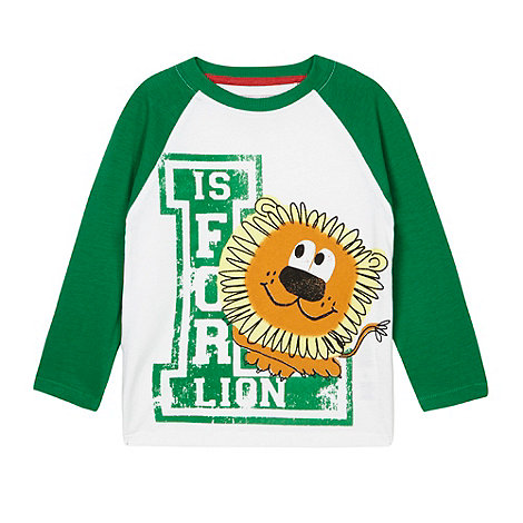 bluezoo - Boy+s green +L is for Lion+ printed t-shirt
