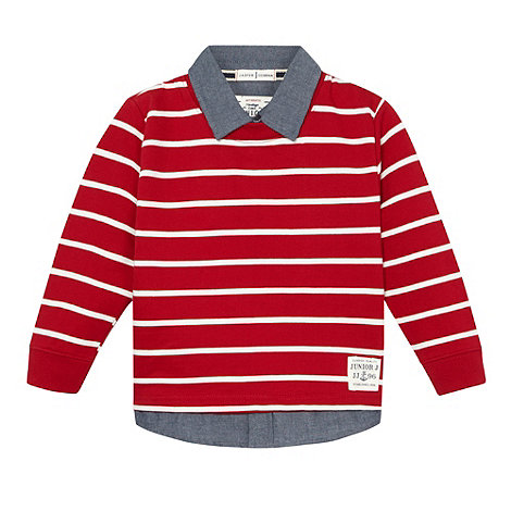 J by Jasper Conran - Designer boy+s red mock shirt jumper