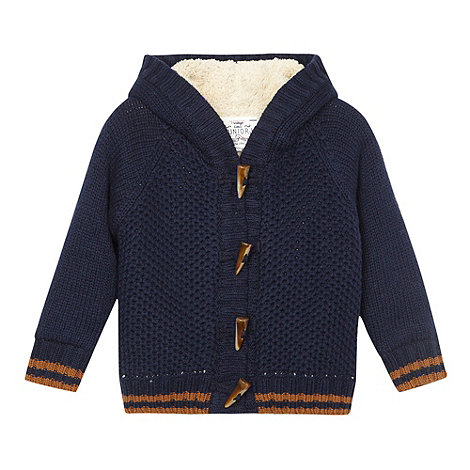 J by Jasper Conran - Designer boy+s navy borg lined duffle cardigan