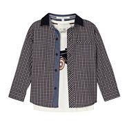 Designer boy's tan checked shirt and t-shirt set